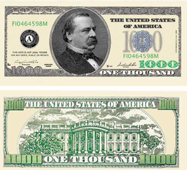 2 dollar bill back. 100 dollar bill back and front